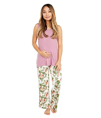 Everly Grey Jacqueline Maternity/Nursing Two-Piece Set (Beige Floral) Women
