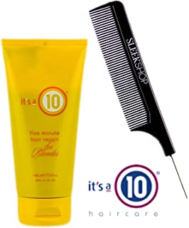 It's a 10 Ten FIVE MINUTE Hair Repair for BLONDES (with Sleek Steel Pin Tail Comb) (Five Minute Repair for Blondes, 5 oz)