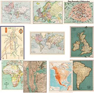 Monolike Vintage Poster and Wrapping Paper, World map Design 10 Sheets