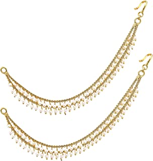 MEENAZ Brass copper Gold 2 two layer long bridal wedding moti ear kan chain Champaswaralu earchains Pearl Ear Chains for H...