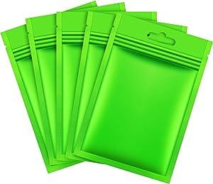 200 Pieces Mylar Zip Lock Bags Aluminum Foil Bags, Flat Metallic Mylar Foil Flat Food Storage Bags Pouch (Green, 8 x 13 cm)