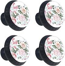 Keukenkast Knoppen - Aquarel Pioen Rose Flower - Knoppen voor dressoir Laden voor kast, kast, badkamer of kantoor - Pack v...