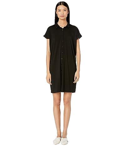 Eileen Fisher Classic Collar Knee Length Dress (Black) Women