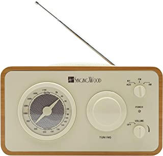 SINGING WOOD Retro Wood AM FM Radio with Bluetooth and Aux-in Jack (Beech Wood Color)