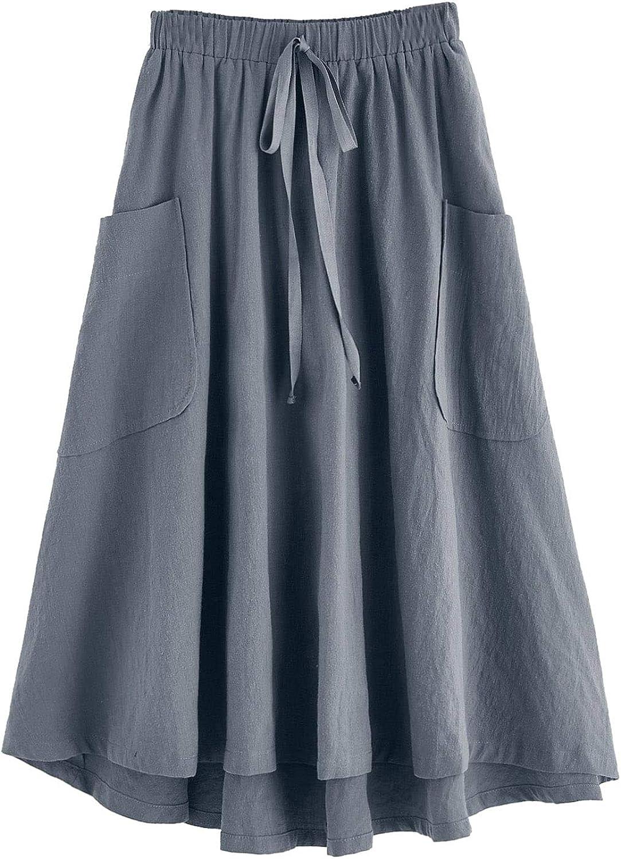 SweatyRocks Women's Casual High Waist Pleated A-Line Midi Skirt with Pocket