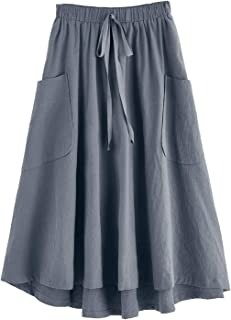 Women's Casual High Waist Pleated A-Line Midi Skirt with Pocket