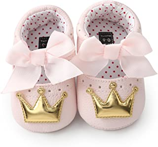 Meckior Infant Baby Girls Crown Mary Jane Soft Sole BowknotPrincess Shoes Newborn Prewalker Wedding Dress Flats Toddler Sneaker