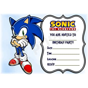 Sonic The Hedgehog Birthday Party Invites Portrait Design Party Supplies Accessories Pack Of 12 A5 Invitations With Envelopes Amazon Co Uk Office Products