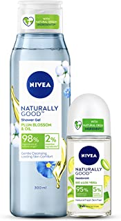 NIVEA Naturally Good Combo, Plum Blossom & Oil Shower Gel 300 ml, Bio Aloe Vera Roll on 50 ml, 2 Pieces