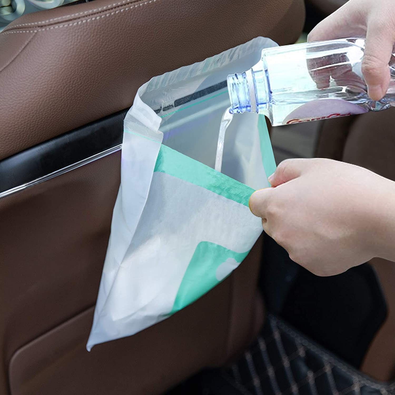 30 Pcs Car Trash Bags,Self-adhesive Waterproof Leakproof Portable Auto Trash Can,Large Garbage Bag for Car Office Kitchen Bathroom
