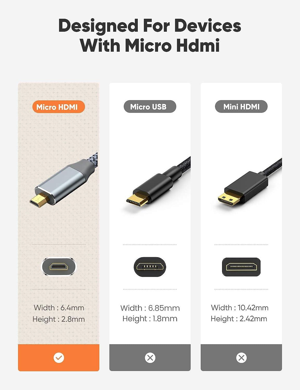 Cable Micro HDMI a HDMI 1.8M para HDMI2.0a,1.4a Snowkids 4K Micro HDMI 60Hz Nylon trenzado Carcasa de Aluminio Plug-Play 2K 165Hz Compatible con Gopro Hero//Camera