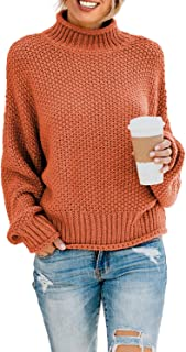Womens Turtleneck Pullover Sweaters Batwing Long Sleeve Loose Chunky Knitted Jumpers Tops