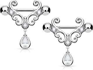 Pierced Owl CZ Set Heart Filigree with Tear Drop CZ Dangle Nipple Bars Barbells Rings - 14G 316L Stainless Steel - Sold as a Pair