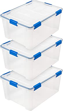 IRIS USA WSB-LD 60 Quart WEATHERTIGHT Multi-Purpose Storage Box, Clear with Blue Buckles, 3 Pack
