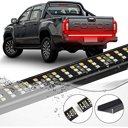 CT CAPETRONIX 60'' Triple Tailgate Light Bar Waterproof No-Drill Install Aluminum LED brake light strip for Trucks 4-Way Flat Connector Full-Featured Reverse Running Brake Turn Signal Tailgate Light