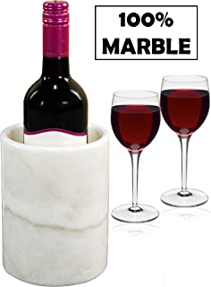 Wine Chiller White Table Top Handmade Marble Wine Chillers for Champagne - Tall 5x5x6.5 Inch