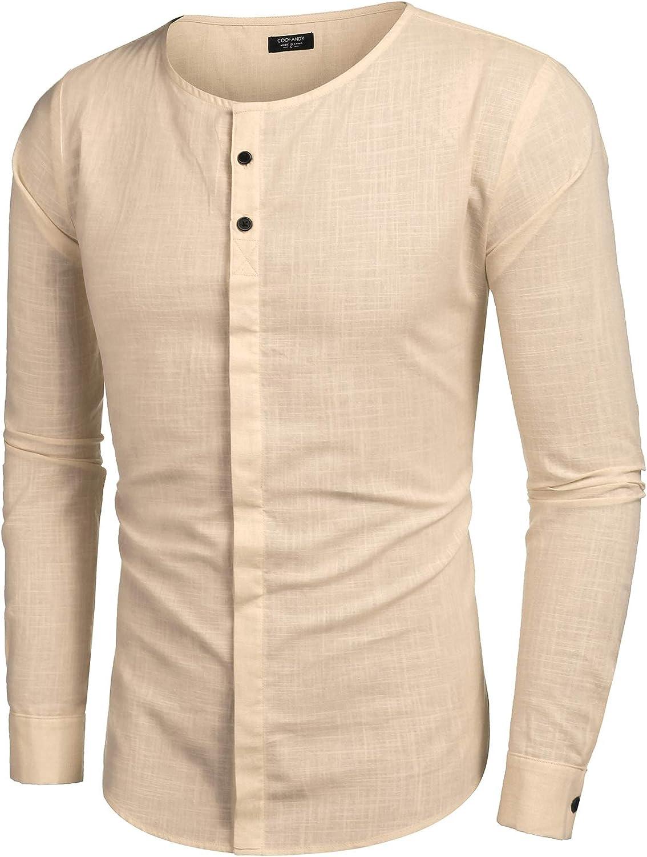 COOFANDY Men's Cotton Linen Button Down Dress Shirt Long Sleeve Casual Beach Tops