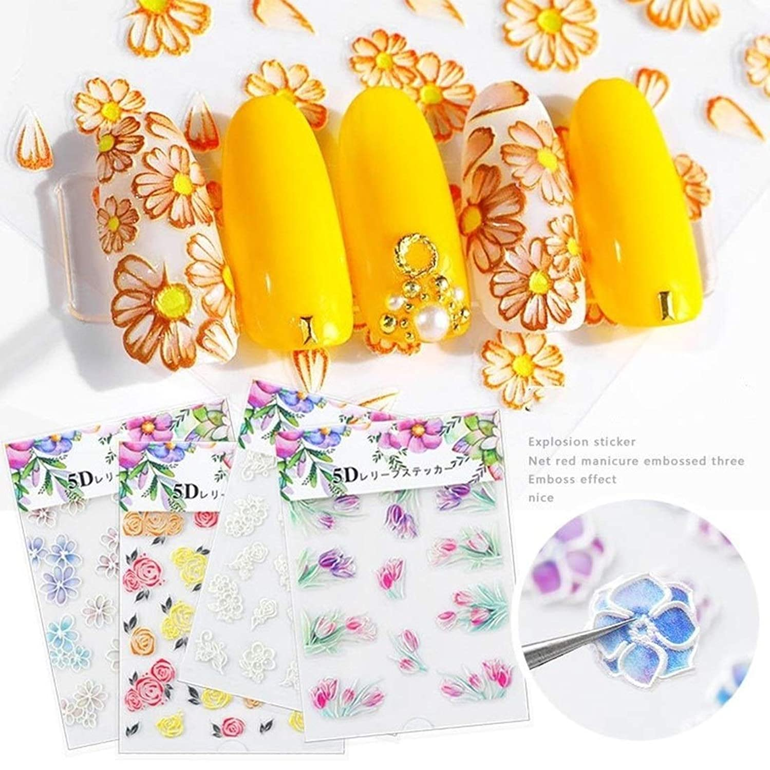 インポート生き返らせる厳密にTianmey 5Dネイルステッカーセット10枚の花柄自己粘着転写デカールネイルアートマニキュア装飾ツール