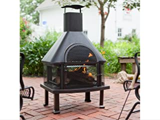 Outdoor Fireplace - Wood Burning Outdoor Fireplace with Smokestack; Gather Around the Fire in Your Backyard with This Modern Outdoor Fireplace