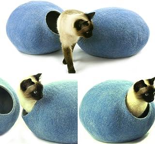 猫ベッド、ペットハウス、洞穴、うたた寝用の繭(コクーン)、100%ウールの100%ハンドメイド、Kivikis製 スカイブルー色 [並行輸入品]