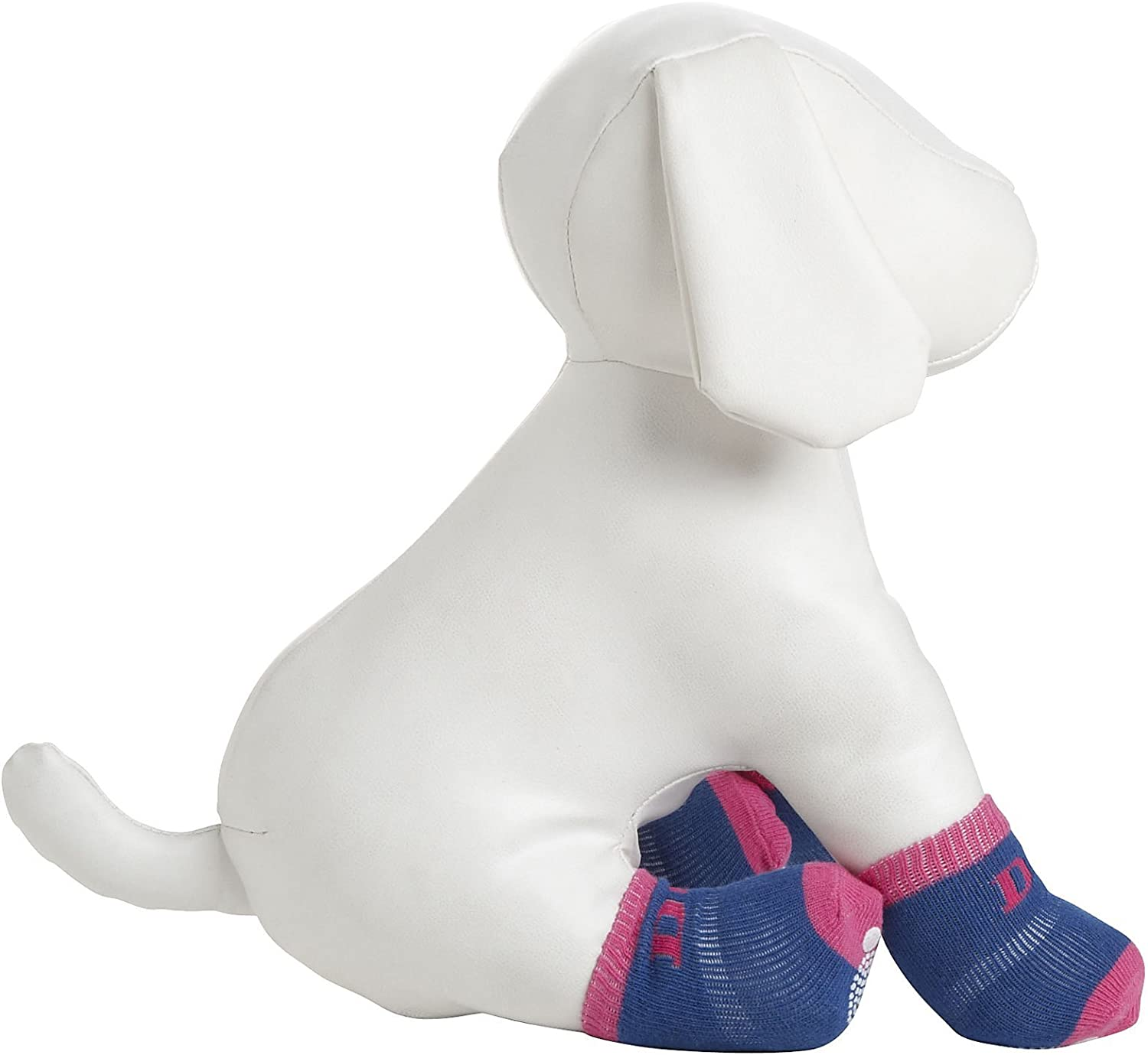 PetLife DPF09912 4Pack AntiSkid Soft Cotton Dog Socks with Rubber Sole Grip, XSmall Small, Pink bluee