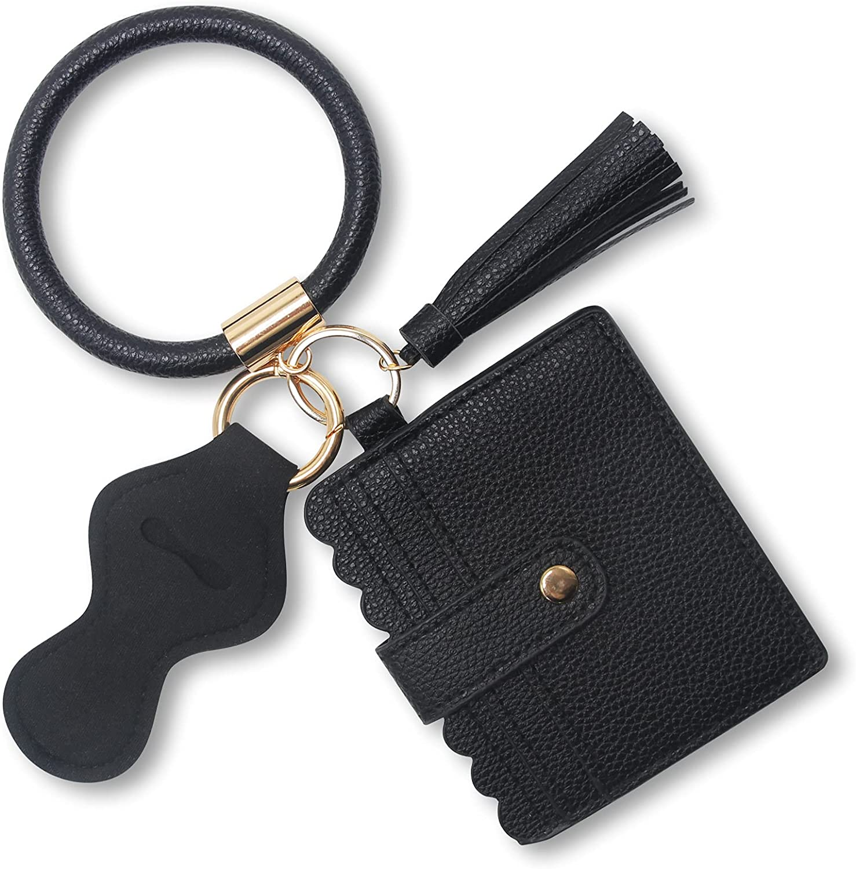 Bangle Keychain Bracelet,ATLYEROZ Leather Wristlet Keyring with Wallet and Lipstick Holder for Women