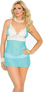Elegant Moments Women's Plus-Size Mesh and Lace Babydoll with Adjustable Straps