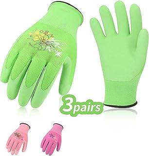 Vgo 3Pares Guantes látex mujer de jardinería y guantes de