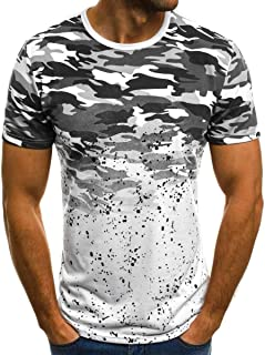 Howely Men's Camouflage Print Short Sleeve O Neck Workout T-Shirt Top Blouse
