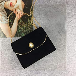 Umhängetasche Damen Clutch Velvet Flap Bag Damen Handtasche Mit Perlenkette Schwarz Elegante Umhängetasche Hochzeit Clutch...