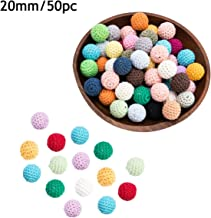 Promise Babe 20mm 50pc DIY Teething Wooden Crochet Beads Mix Color Baby Teether Toys Safety Crochet Covered Beads Nursing Necklace Bracelet Jewelry Accessories