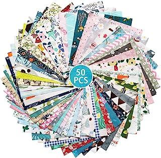 """پارچه ZGXY ، 50 عدد / قطعه پنبه بالا 8 """"x 8"""" (20 سانتی متر 20 سانتی متر) مربع وصله ، چند رنگ پیش ساخته و الگوی متفاوت برای دوختن ساخت هنر لحاف ، ماسک خیاطی پارچه DIY پارچه"""