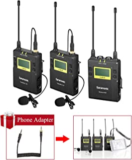 UHF Dual Wireless Microphone Smartphone Vlog Dialog Camera Interview Live, Saramonic 96-Channel Lavalier Mic System 2 Transmitters for iPhone X 8 7 DSLR & Camcorder Youtube Video(Phone Adapter In)