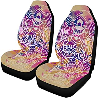 InterestPrint Hand Drawn Elephant Auto Seat Covers 2 pc, Bucket Seat Protector Car Seat Cushions for Car, SUV, Truck or Van