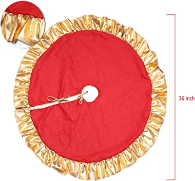 Ginfonr Christmas Tree Skirt with Golden Ruffle Edge Design Gorgeous Flannelette Red Xmas Decorations for Holiday Indoor Outdoor Home Party Ornaments (36 inches)