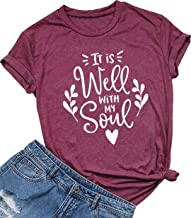 It is Well with My Soul Christian Letter Print T Shirt Women Short Sleeve O Neck Tops Tee
