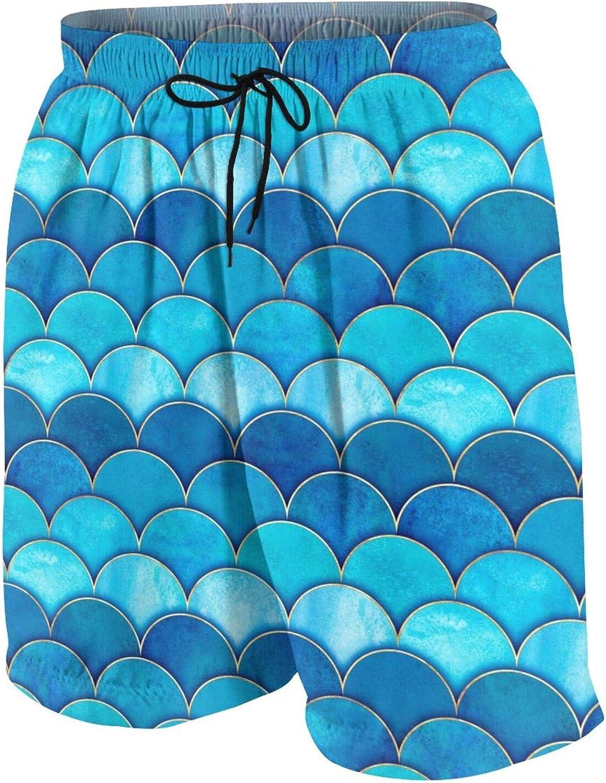 Mermaid Fish Scale Wave Boys Swim Trunks Quick Dry Beach Board Swim Shorts Swimsuit Swimwear from 7T to 18