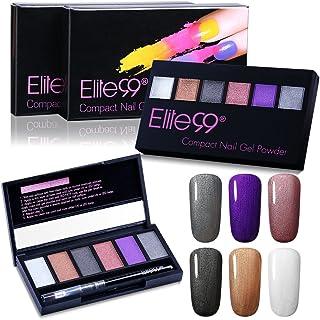 Elite99 Nail Powder Pearl Shimmer Glitter Compact Nail Gel Powder DIY Magic Dust Nail Art Decoration 6 Colors