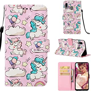 StarCity Samsung Galaxy A30 / A20 Case, [Kickstand Feature] 3D Folio Flip Wallet Case with Wrist Strap/Card Slots/Side Pocket for Samsung Galaxy A30 SM-A305F/DS (Unicorn)
