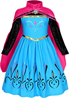 AmzBarley Disfraz Coronacion Princesa Niña,Vestido Niña Boda Fiesta Manga Larga,Traje Infantil Disfraz&Capa (Princess Dress Girl Costume Kids) Halloween Cosplay Navidad Carnaval Ceremonia,3-4 Años