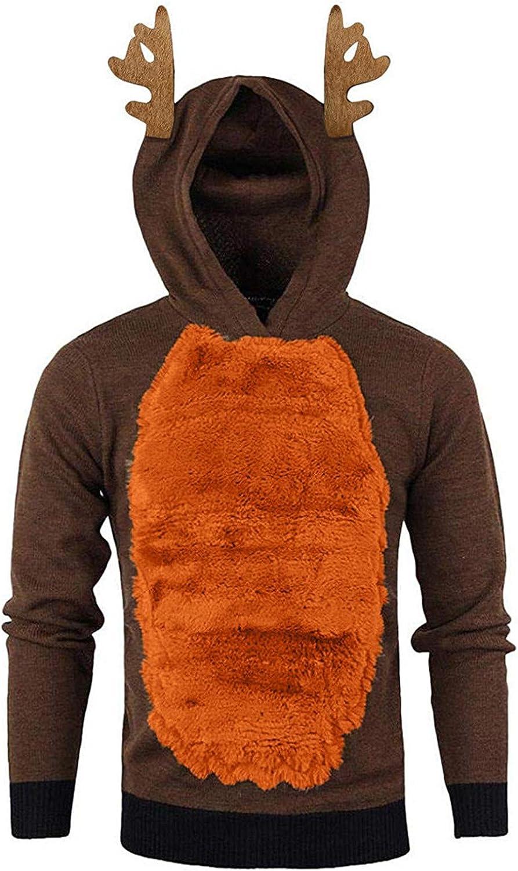 Xmas Christmas Hoodies For Men Contrast Hoody Feather Hooded Sweatshirt Closplay Elk Hoodies Long Sleeve Pullovers