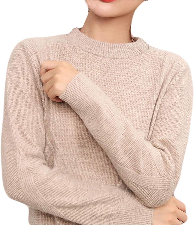 ALAPUSA Women's 100% Cashmere Slim Fit Crew Neck Sweater