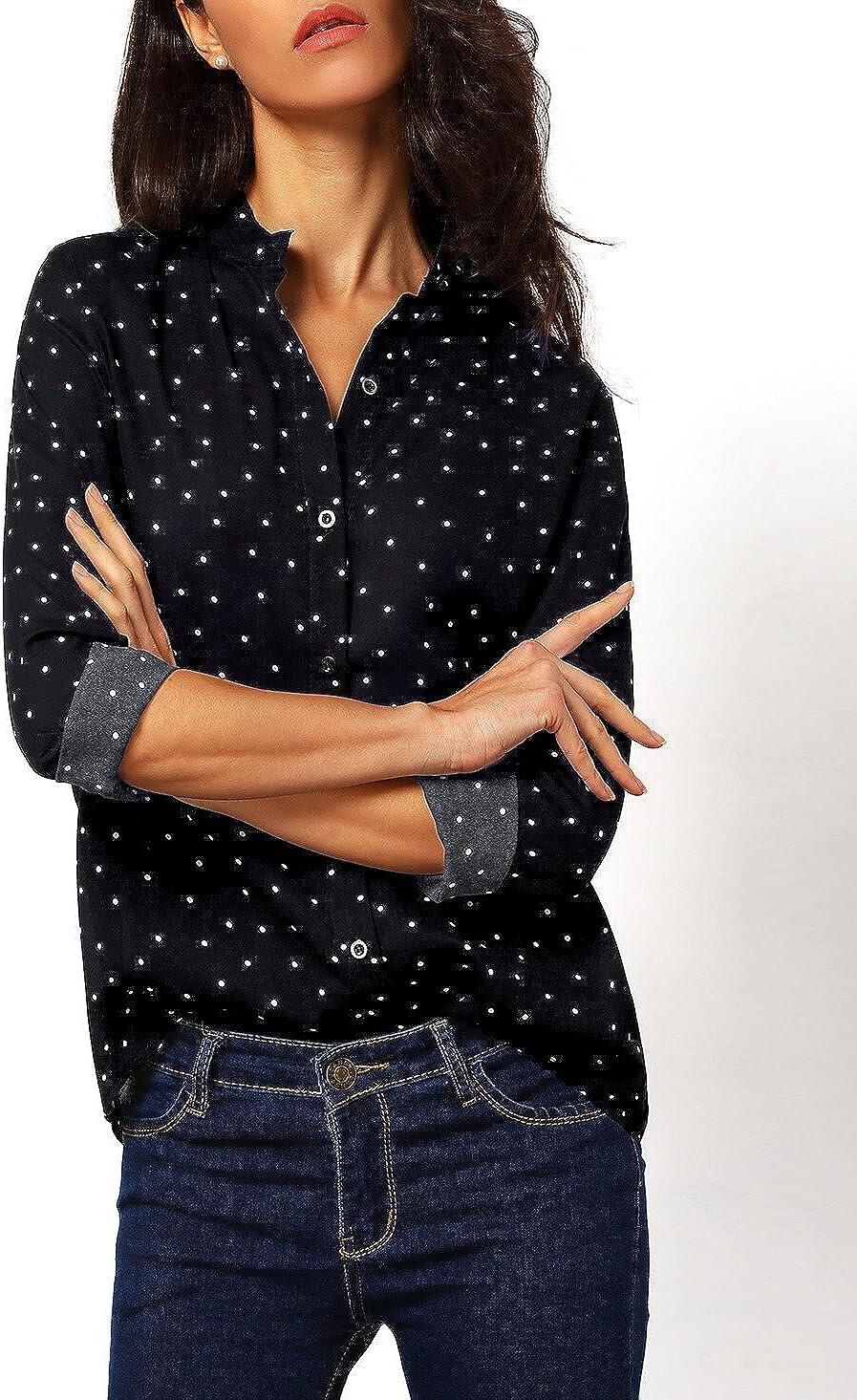 Floerns Women's Long Sleeve Tops Print Button Down Office Blouse Shirts