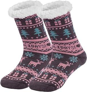 Domybestshop Calze a Pantofola Donna Antiscivolo con Stampa Natalizia Calzini Invernali Donna Foderato in Pile Caldo Ultra Morbidi