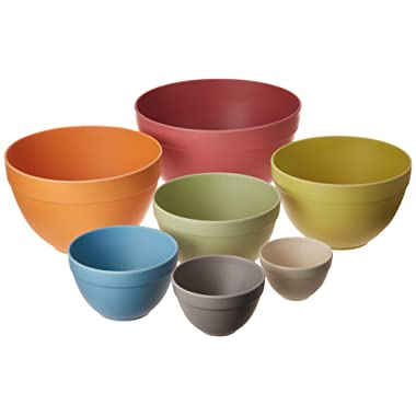 Bamboozle Nesting Bowls Set for Mixing and Serving, Dishwasher Safe, 7 Piece, Pastel