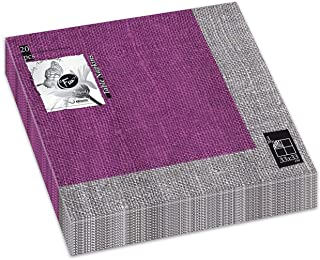 Fun® Trendy 3-Ply Disposable Coloured Printed Paper Napkin Tissue 33x33cm - Purple Linen - Pack of 20