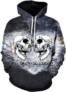 Okerdil Long-Sleeved Round Neck Hooded Pullover Sportswear Men's Cool Printed Metal Skull Hooded Sweatshirt