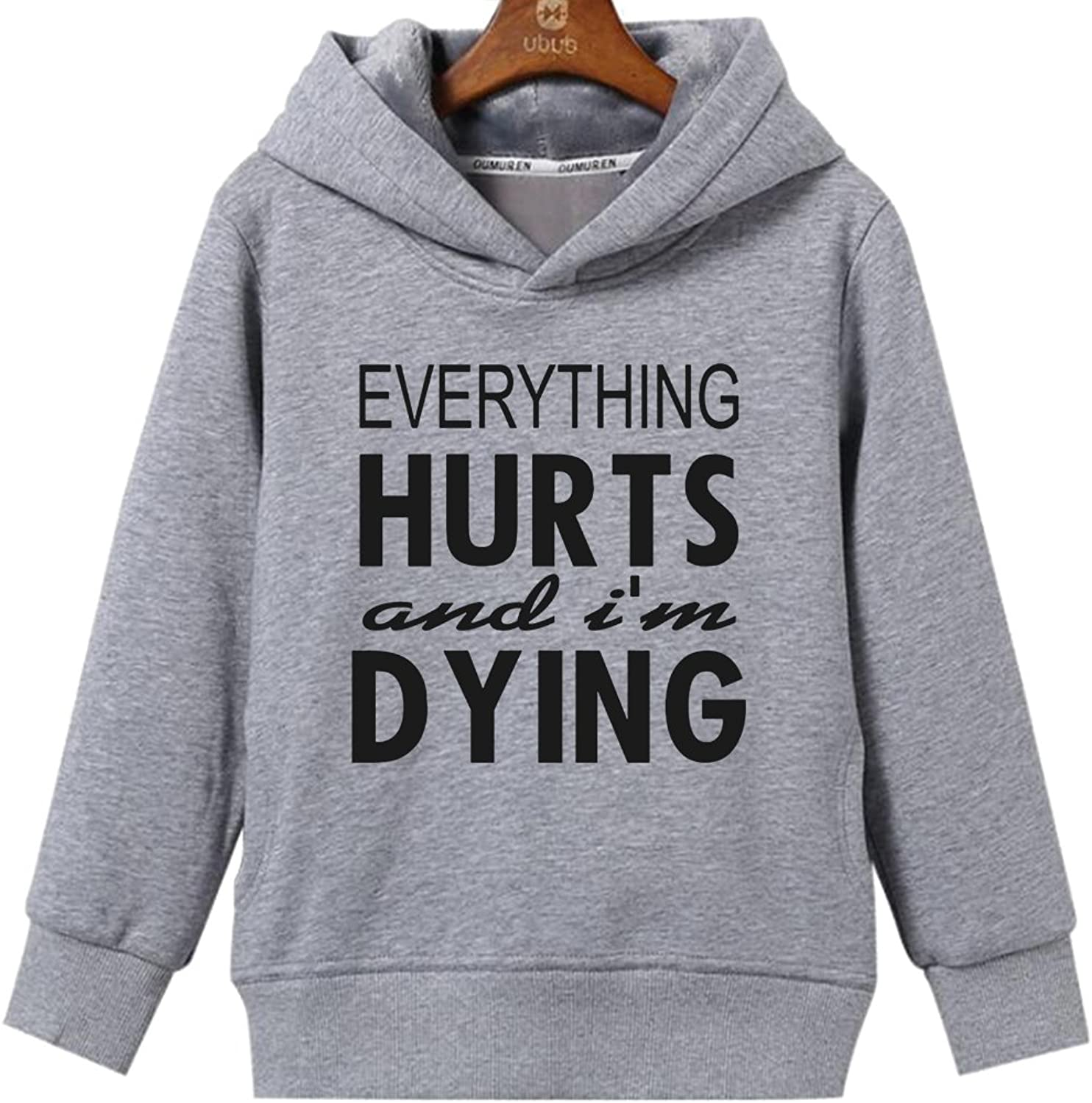 CINFAN Women's Everything Hurts I'm Dying Gym Workout Hoodie with Pockets