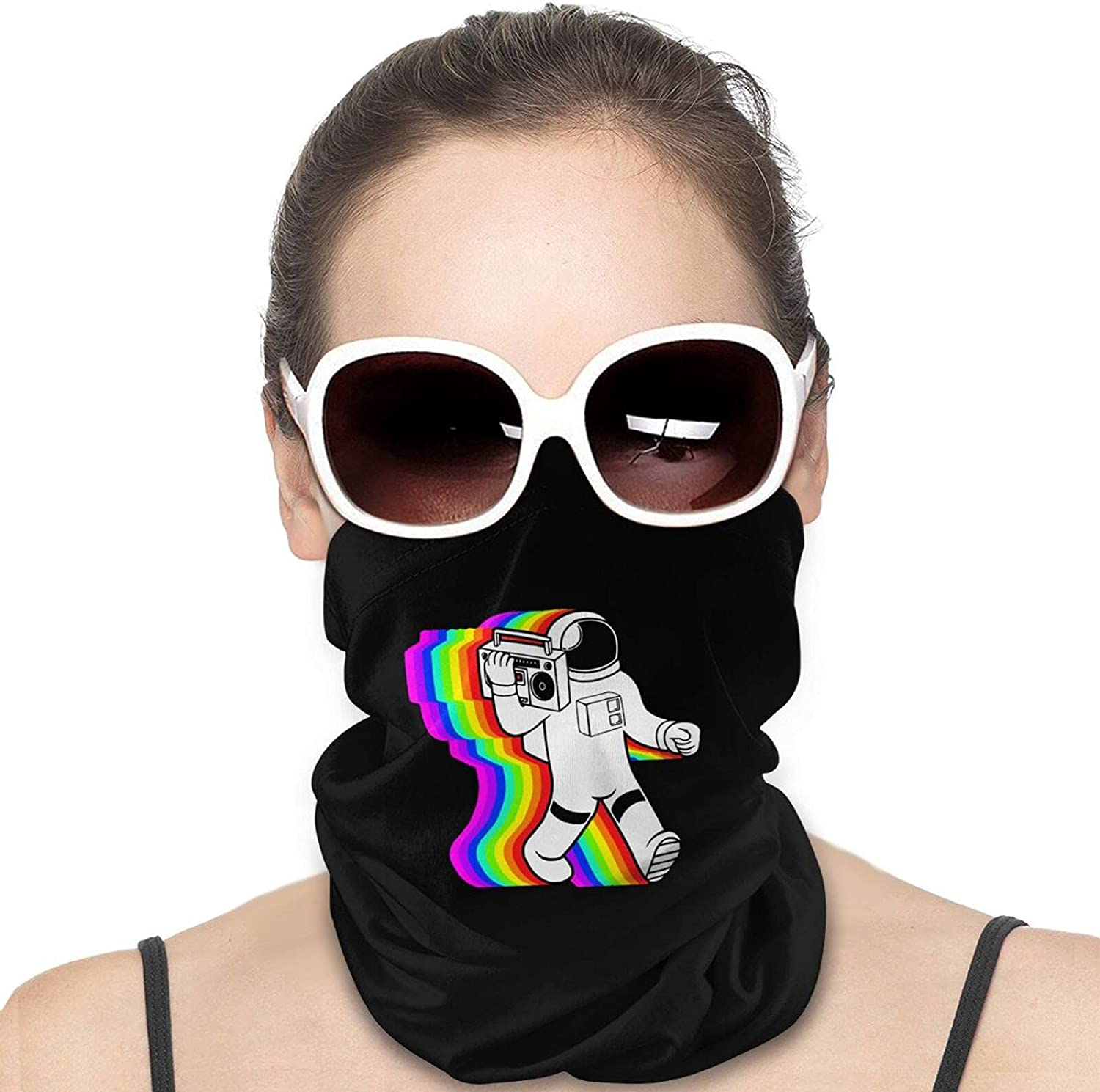 Retro Spaceman Boom Box Astronaut Round Neck Gaiter Bandnas Face Cover Uv Protection Prevent bask in Ice Scarf Headbands Perfect for Motorcycle Cycling Running Festival Raves Outdoors