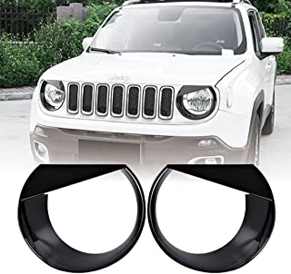 (Upgrade Clip In Version) E-cowlboy For Jeep Renegade 2015-2018 Front Light Headlight Bezels Cover Angry Bird Style Black